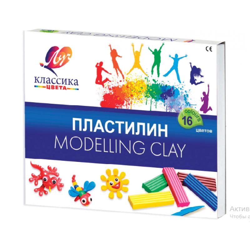Пластилин ЛУЧ «Классика», 16 цветов, 320 г, со стеком, картонная упаковка
