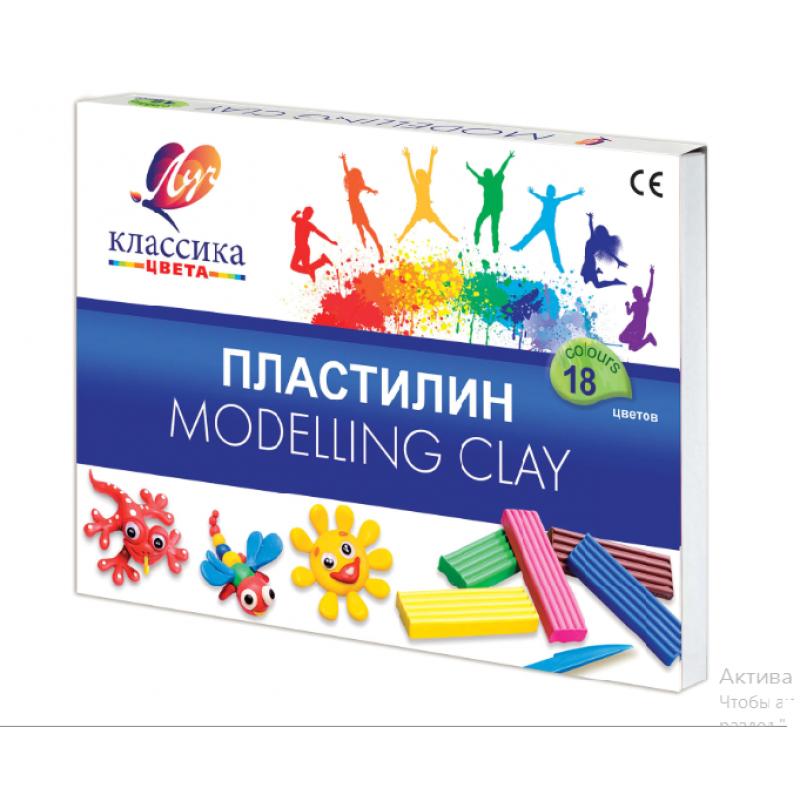 Пластилин  ЛУЧ «Классика», 18 цветов, 360 г, со стеком, картонная упаковка