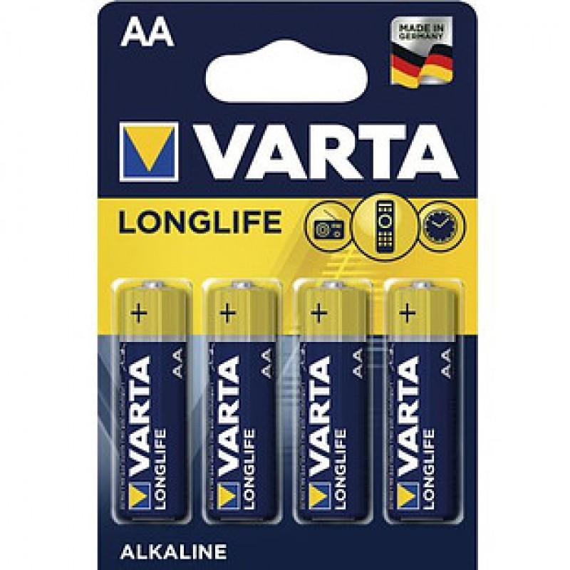 Батарейки Varta LONGLIFE Mignon пальчиковые AA LR06, 1.5V, 4 шт./уп, цена за упаковку